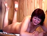 Tied to a tree and flogged - naked girl with battered and bruised ass