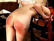 Blistering bare bottom spanking in the parlour for naughty miss with very cute ass