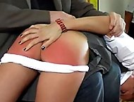 School girl spanked to tears with her white knickers pulled down