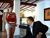 Buxom beauty has her shorts ripped off for searing bare assed otk spanking - hot wobbly buttocks