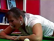 Chubby girl with trembling buttocks bent over the pool table for a searing caning