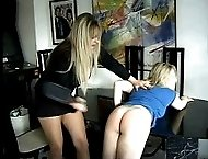 Two teen sluts spanked and caned on their pert little bottoms